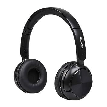 Sylvania SBT235-Black Bluetooth Wireless Headphones with Microphone, Black