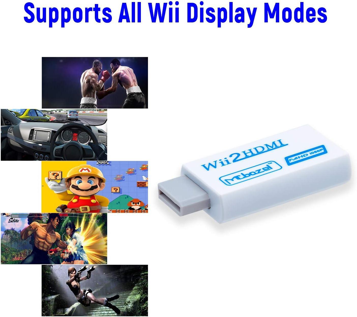 Mcbazel Wii a HDMI Converter, convertidor de Adaptador de Video Full HD 1080P con Audio de 3.5mm