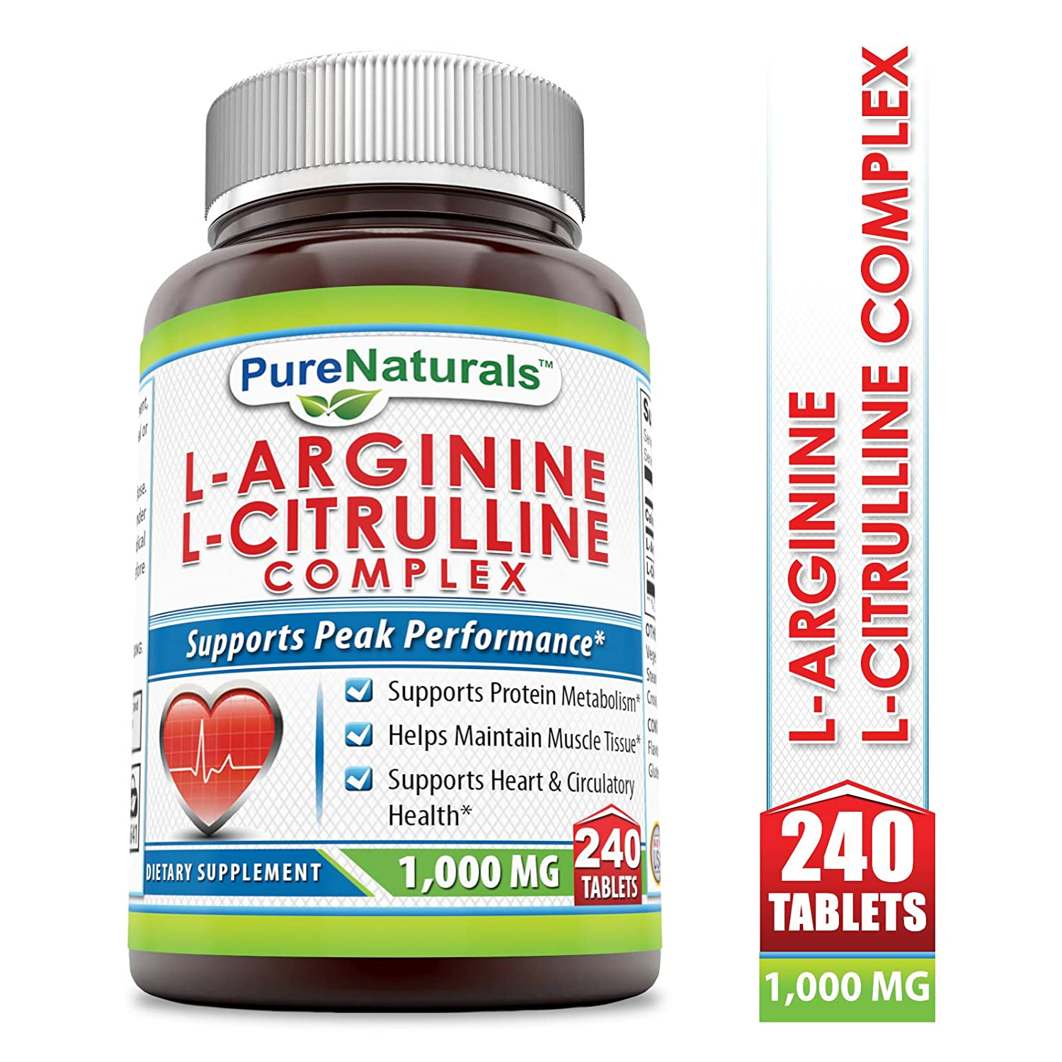 Pure Naturals L-Arginine L-Citrulline Complex, 1000 Mg Tablets, 240 Count – Supports Cardiovascular Health* and Circulatory Function, Helps Maintain Normal Blood Pressure*