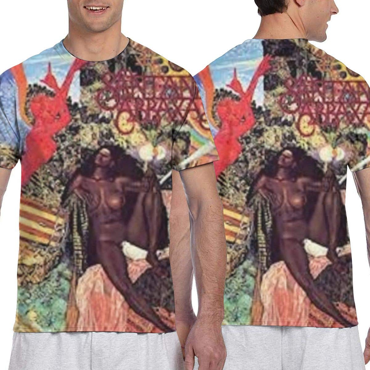KathyCCassady Santana 3D Printing Classic Personality Mens Short Sleeve Pattern Tee