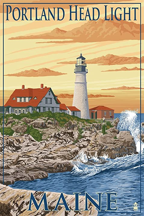 Amazon.com: Portland Head Light - Portland, Maine (9x12 Art Print ...