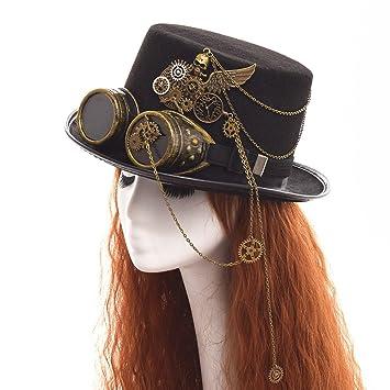 Steampunk High Top Hat in Brown with Black Flocking Design