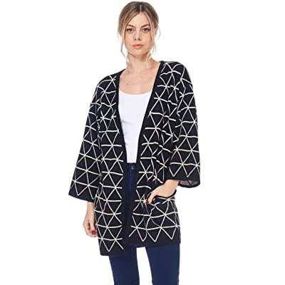 Alexander + David D Womens Casual Open Geometric Knit Cardigan Coat Sweater