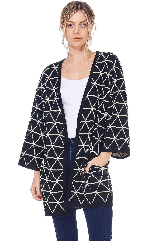 Alexander + David D Womens Casual Open Geometric Knit Cardigan Coat Sweater