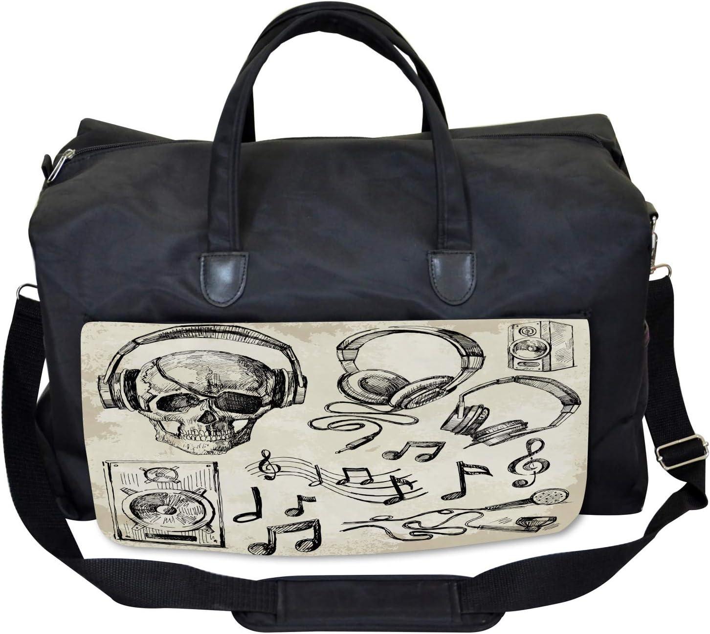 Large Weekender Carry-on Music Hipster Skull Ambesonne Sketchy Gym Bag
