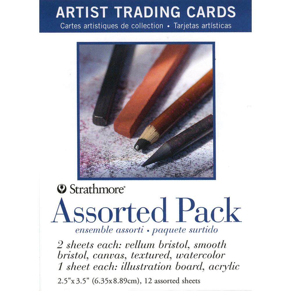 Strathmore (105-908 Artist Trading Cards, Assortment Pack Natural White 12 Sheets