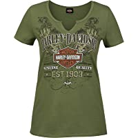 Harley-Davidson Military - Women's Olive Green V-Neck Notched Graphic T-Shirt - RAF Mildenhall | Scrappy