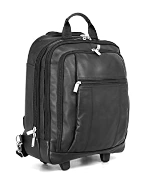HIDEONLINE BLACK ITALIAN LEATHER TROLLEY BAG/ WHEELED BACKPACK ...