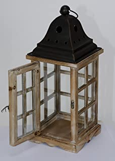 52cm LARGE Wood Chrome Lantern Candle Holder Garden or Indoor