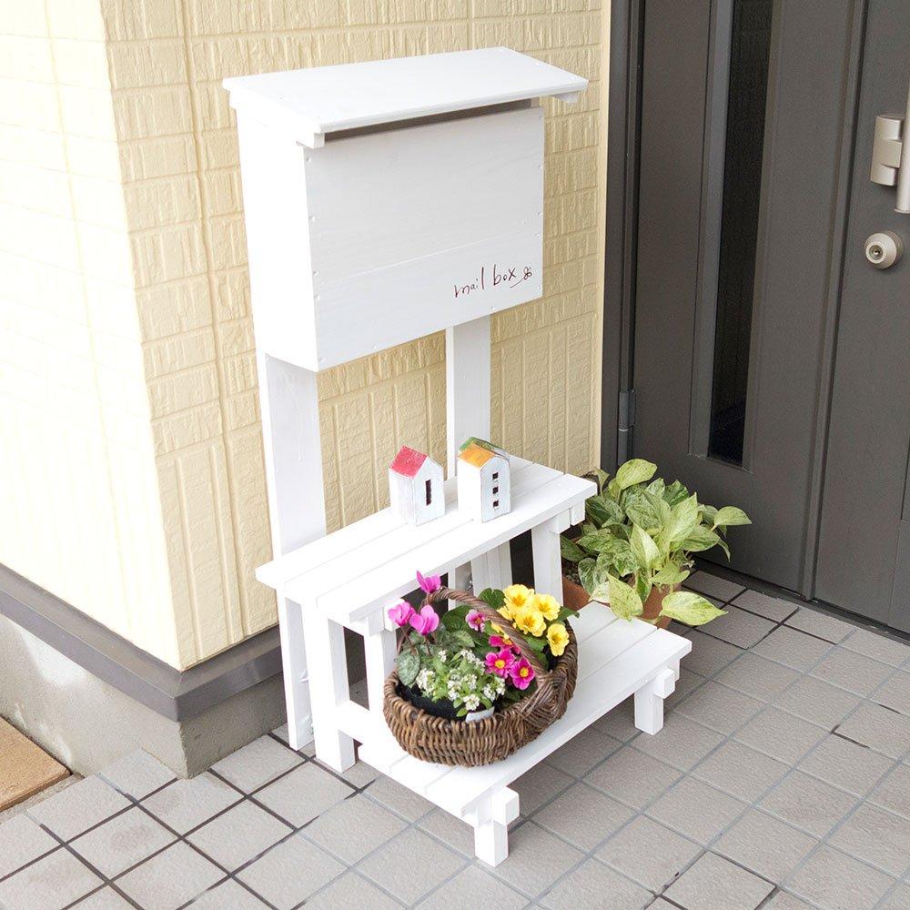 郵便ポスト 郵便受け メールボックス【フラワースタンド付】 (ホワイト) B06XRFLPTX 12852  ホワイト