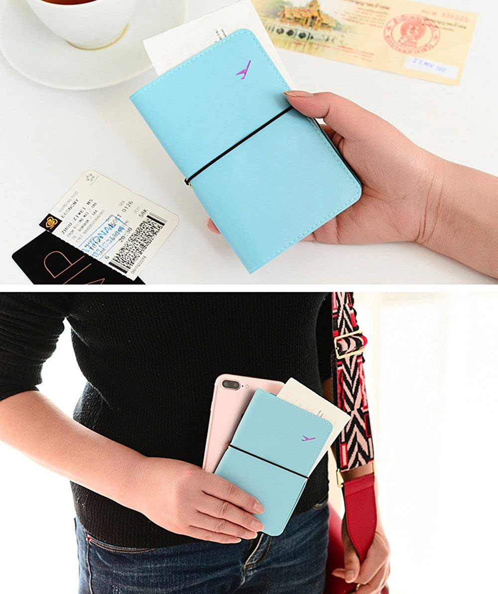 Unisex Leather Passport Holder Protector Bag Travel Wallet Business Card Case Cover
