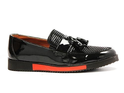 London Navy - Mocasines de Charol para hombre negro negro, color negro, talla 40 EU: Amazon.es: Zapatos y complementos