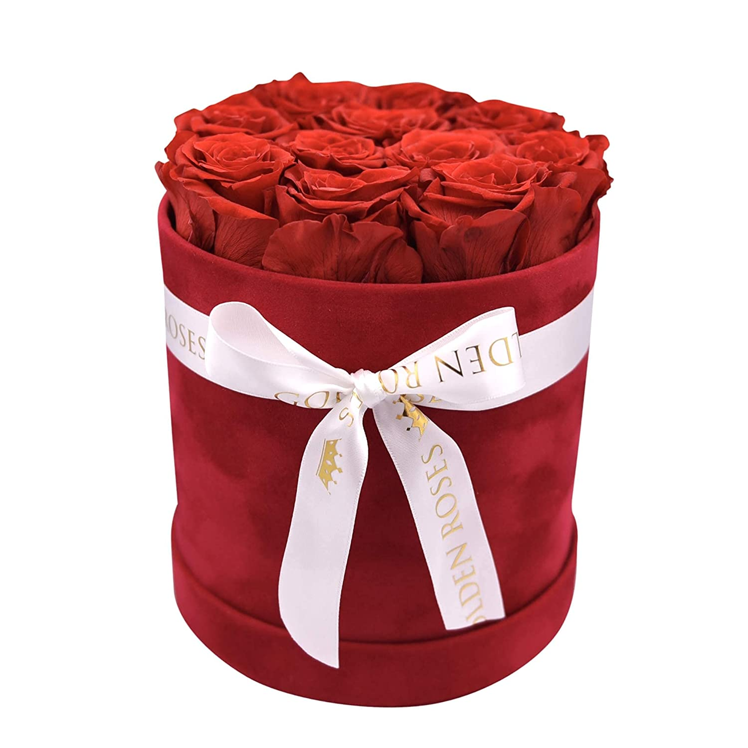 Preserved Real Roses in a Velvet Flower box Fresh Flowers Roses Gift for Valentine's Day, Mother's Day, Birthday, Christmas, Anniversary Luxury Flowers Round Box (Red Roses)