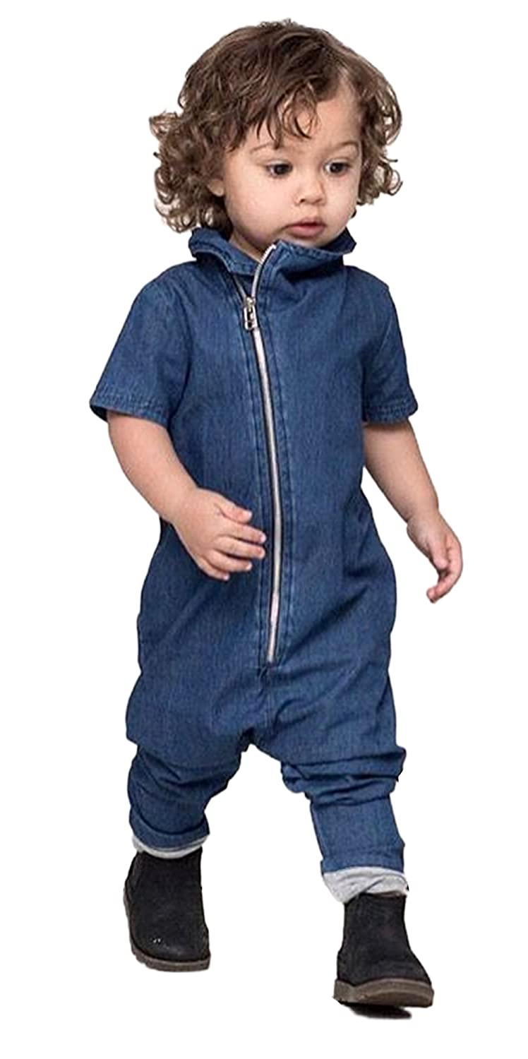 6f8c0d6cccdf Amazon.com  stylesilove Infant Toddler Stylish Blue Jean Baby Overall Romper   Clothing