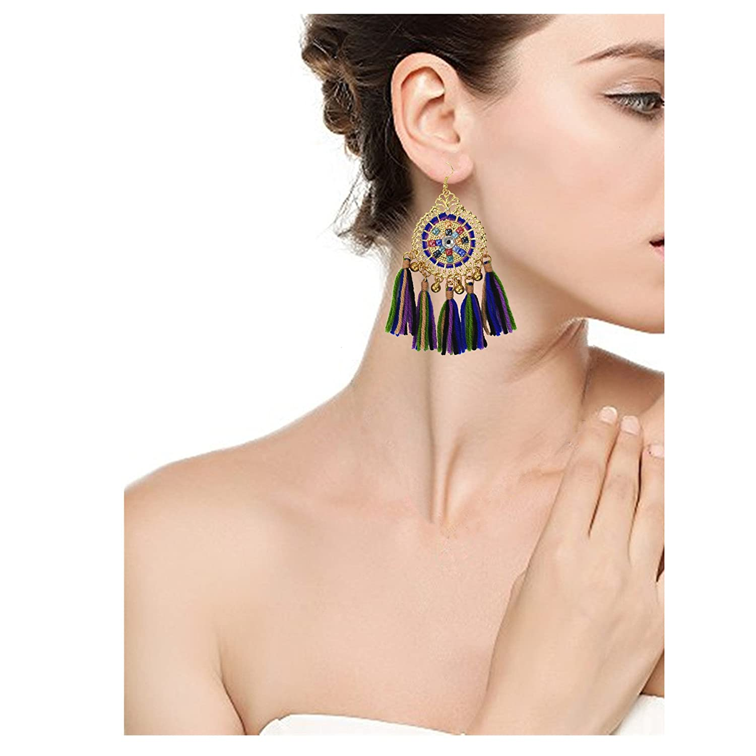 YCYC 2 Pcs Bohemian Tassel Earrings Dangle Drop Thread Fringe Earrings Handmade Eardrop for Women Girls