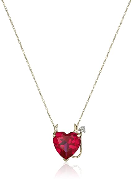 Ruby devil heart shaped pendant necklace for Valentine's day