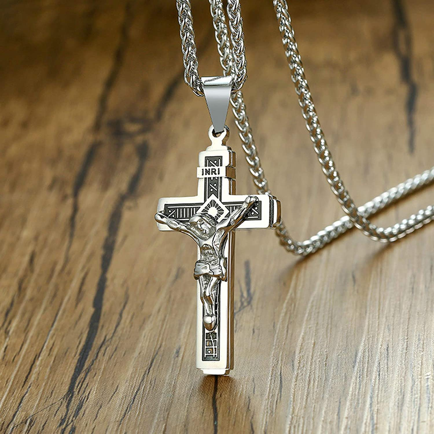 KnSam Necklace for Unisex Pendant Necklaces Stainless Steel Cross Jesus