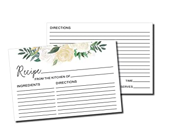 image relating to Wedding Shower Cards Printable identify : 50 Recipe Playing cards - White Floral Rustic Double