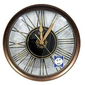 Ajanta Plastic Sweep Clock (32.8 cm x 32.8 cm x 4 cm, Gold)