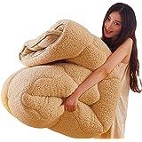 Hanacat 掛けふとん シングル 毛布布団 冬用 ボア 厚手 発熱 キャメル(150×210cm)