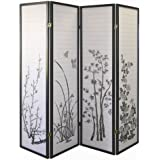 ORE International Black 4-Panel Bamboo Floral Room Divider Screen