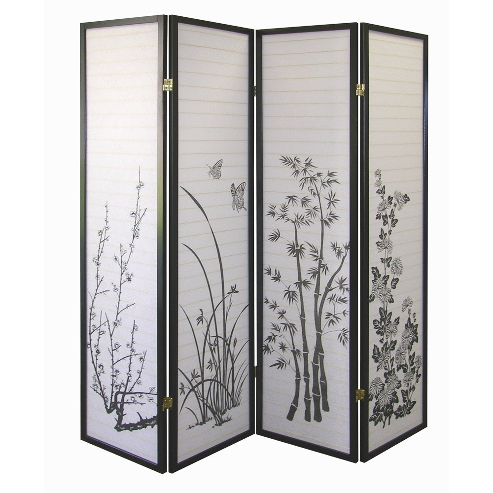 Amazoncom ORE International Black 4 Panel Bamboo Floral Room