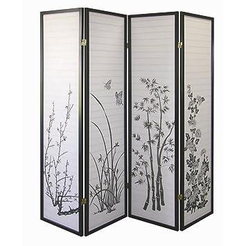 photo screen room divider target ore international black panel bamboo floral diy lattice