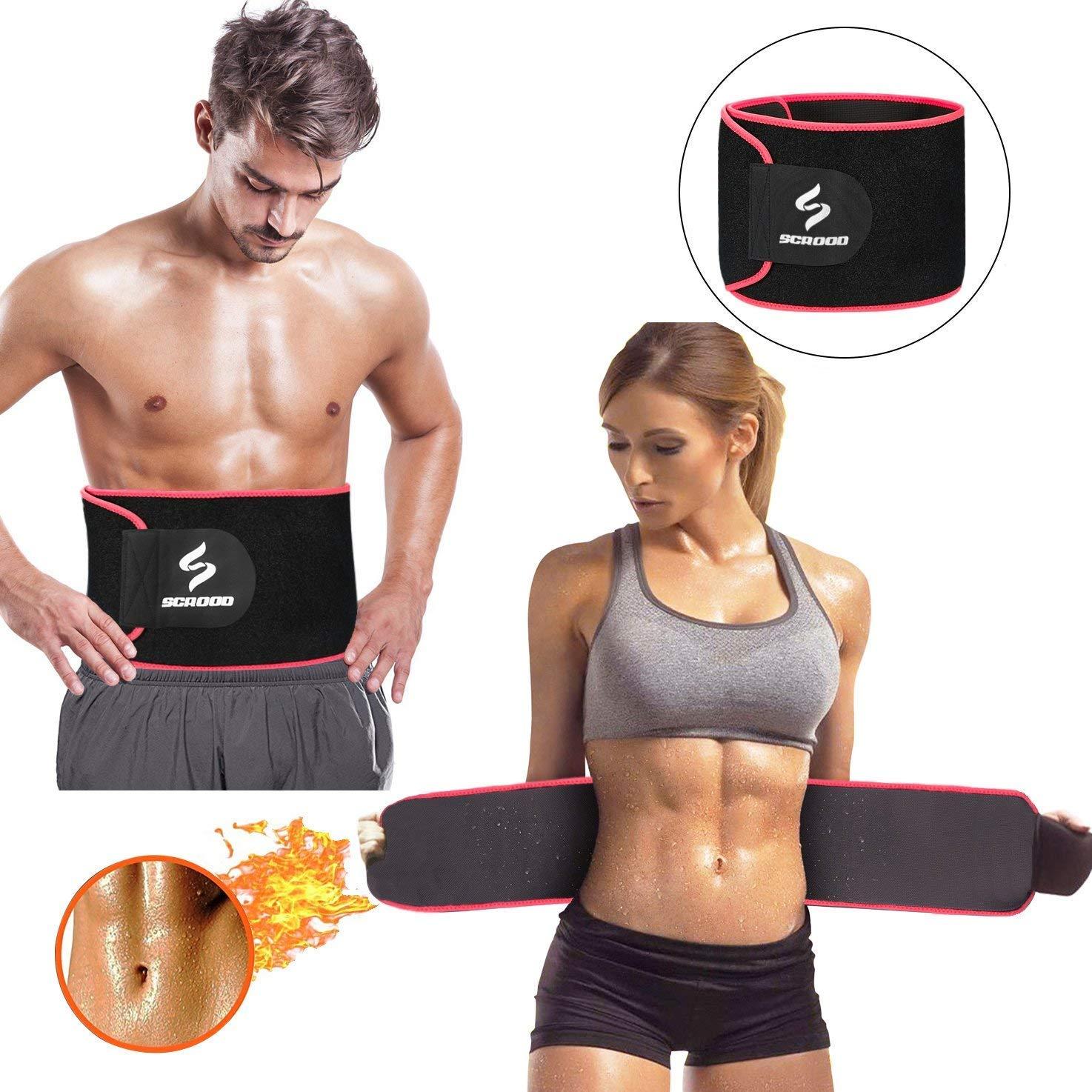 Scrood Waist Trimmer,Waist Trainer Sweet Sweat Waist Trimmer Weight Loss Belt Great Exercise Belt Adjustable Waist Trainer Men Women