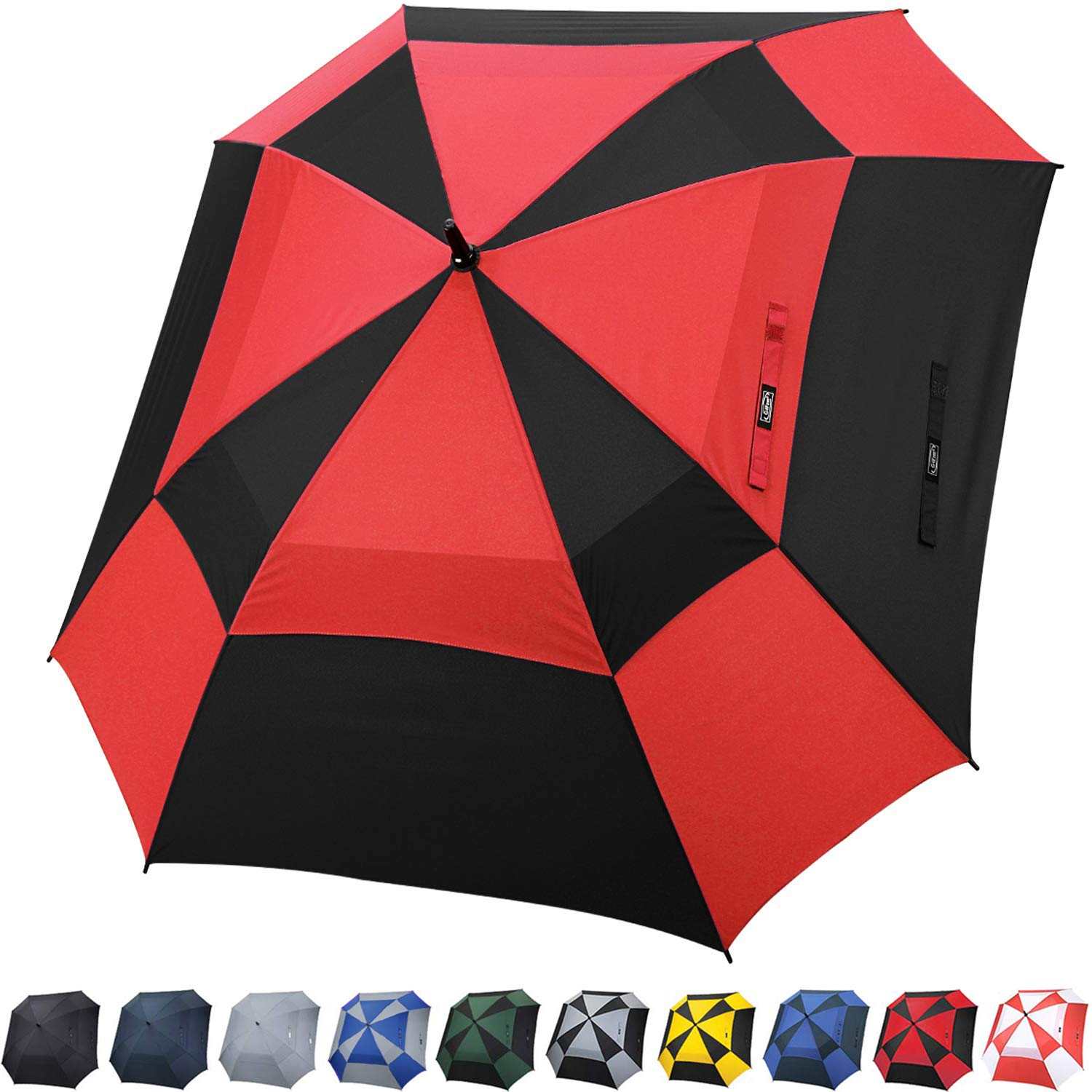 G4Free Extra Large Golf Umbrella Double Canopy Vented Square Umbrella Windproof Automatic Open 62 Inch Oversize Stick Umbrella for Men Women(Black/Red) by G4Free