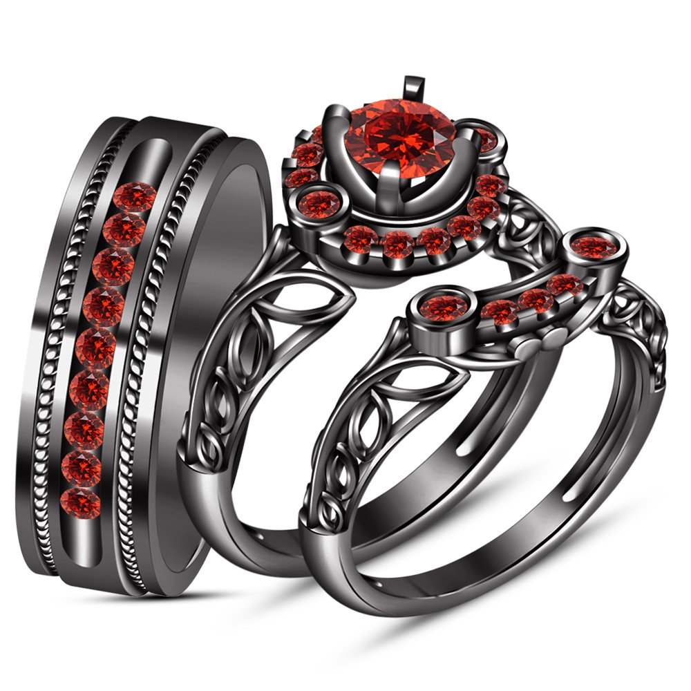 TVS-JEWELS Round Cut Red Garnet Black Rhodium Plated Silver 925 Wedding His & Her 3 Pcs Trio Ring Set