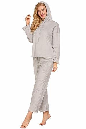 ba1c02a999 Aimado Women Sleepwear 2 Piece Pajama Set with Pj Pants Hooded Nightgown  (Gray
