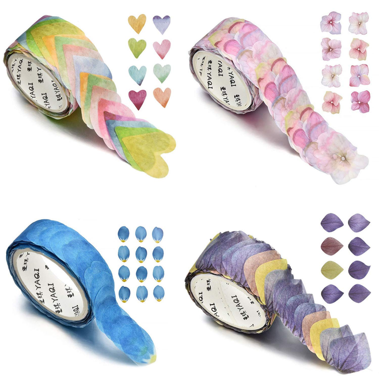 4 Roll Creative Flower Petal Washi Tape, Masking Tape Decorative Decals, DIY Petal Stickers for Scrapbooking, Diary, Bullet Journal, Planner, 200 Petals/Roll