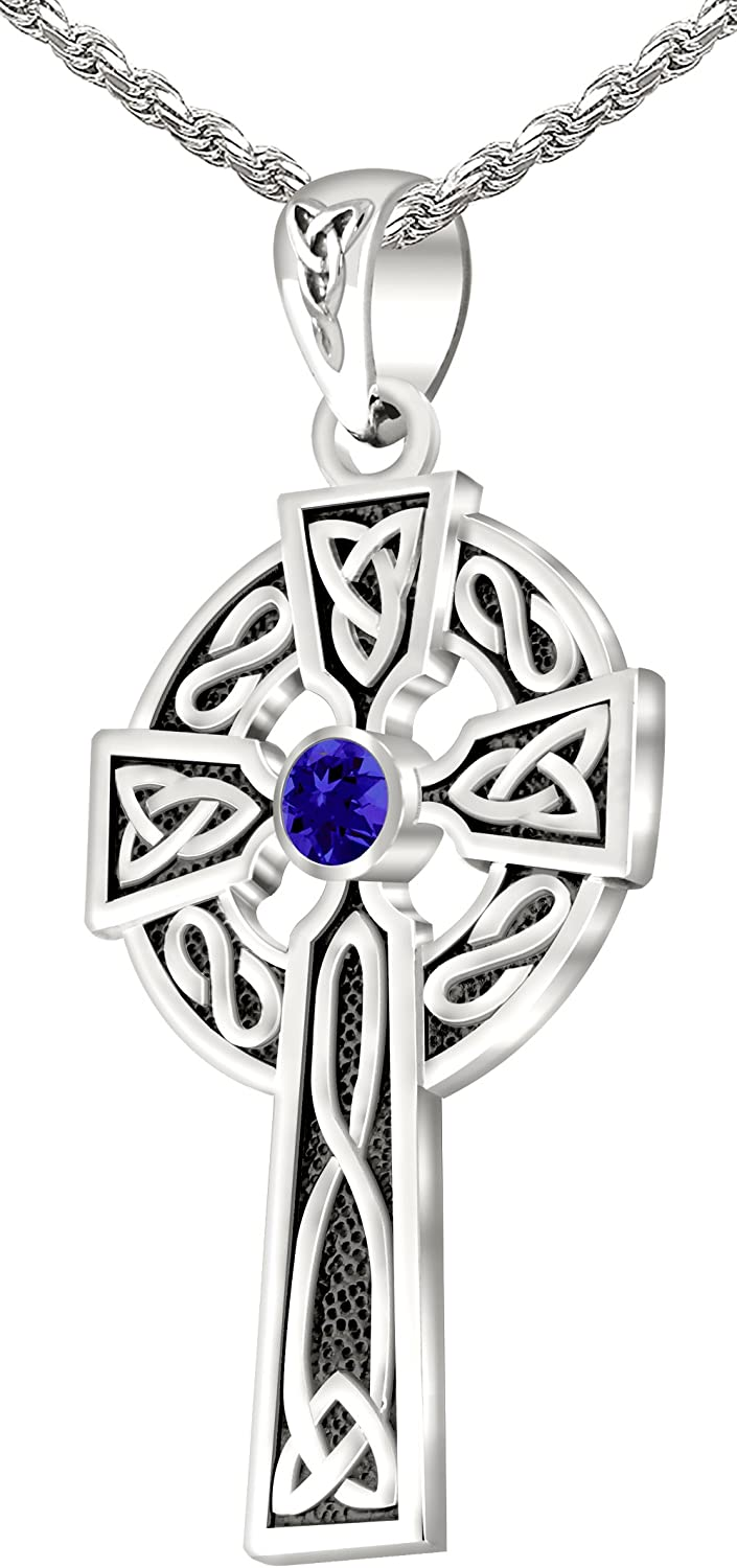 18 to 24 US Jewels And Gems Mens Sterling Silver Synthetic Tanzanite 1.5 Irish Celtic Knot Cross Pendant Necklace