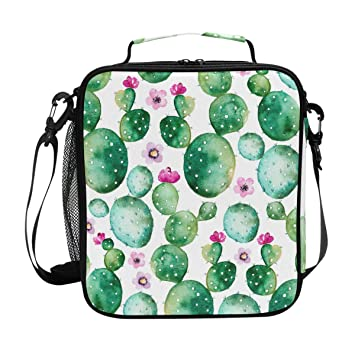 b1a1a7de229f Amazon.com: Hand Painted Watercolor Cactus Plants Insulated Lunch ...