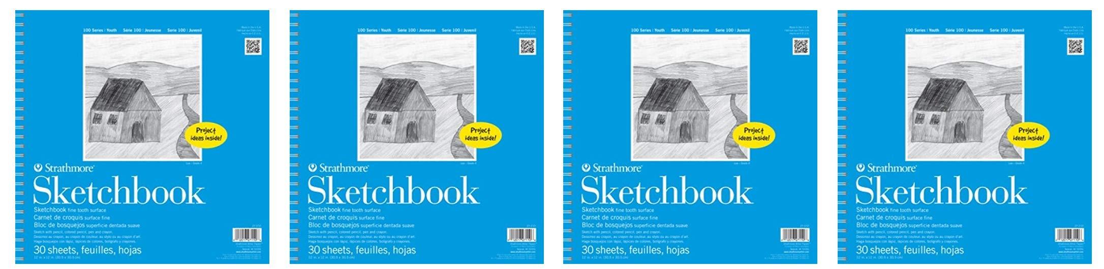 Strathmore (27-110) STR-27-110 30 Sheet Kids Spiral Sketch Book, 12'', 12 by 12'', (Fоur Расk)