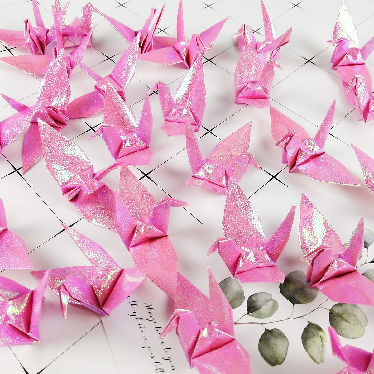 Cieovo 100 PCS Pearl White Origami Paper Crane Folded Hand-Made DIY Crane for Wedding Party Backdrop Baby Shower Background Home Decoration Symbol of Love /& Happiness