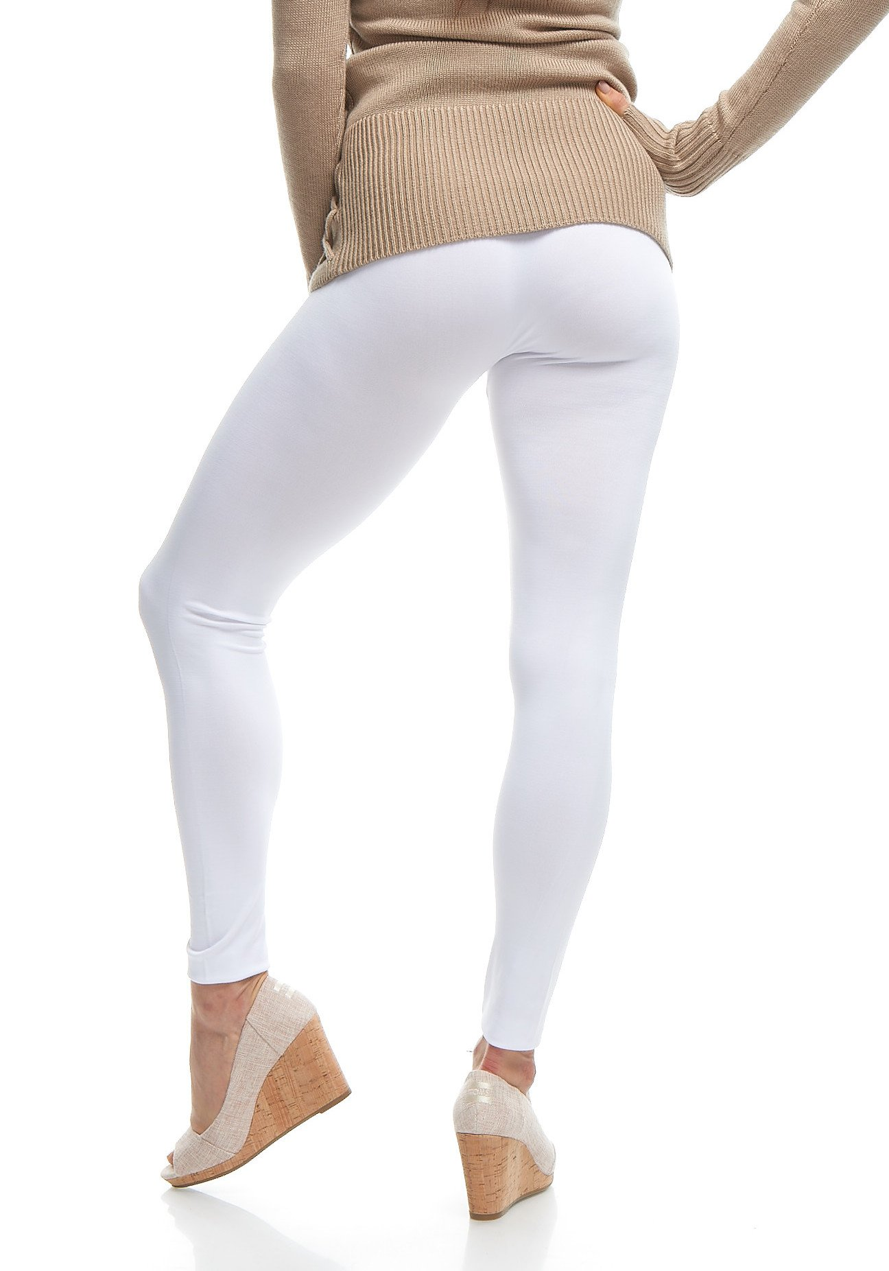 f6424def3275c LMB   Seamless Full Length Leggings   Variety of Colors   One Size   White  - LMB3010-White-OS < Leggings < Clothing, Shoes & Jewelry - tibs