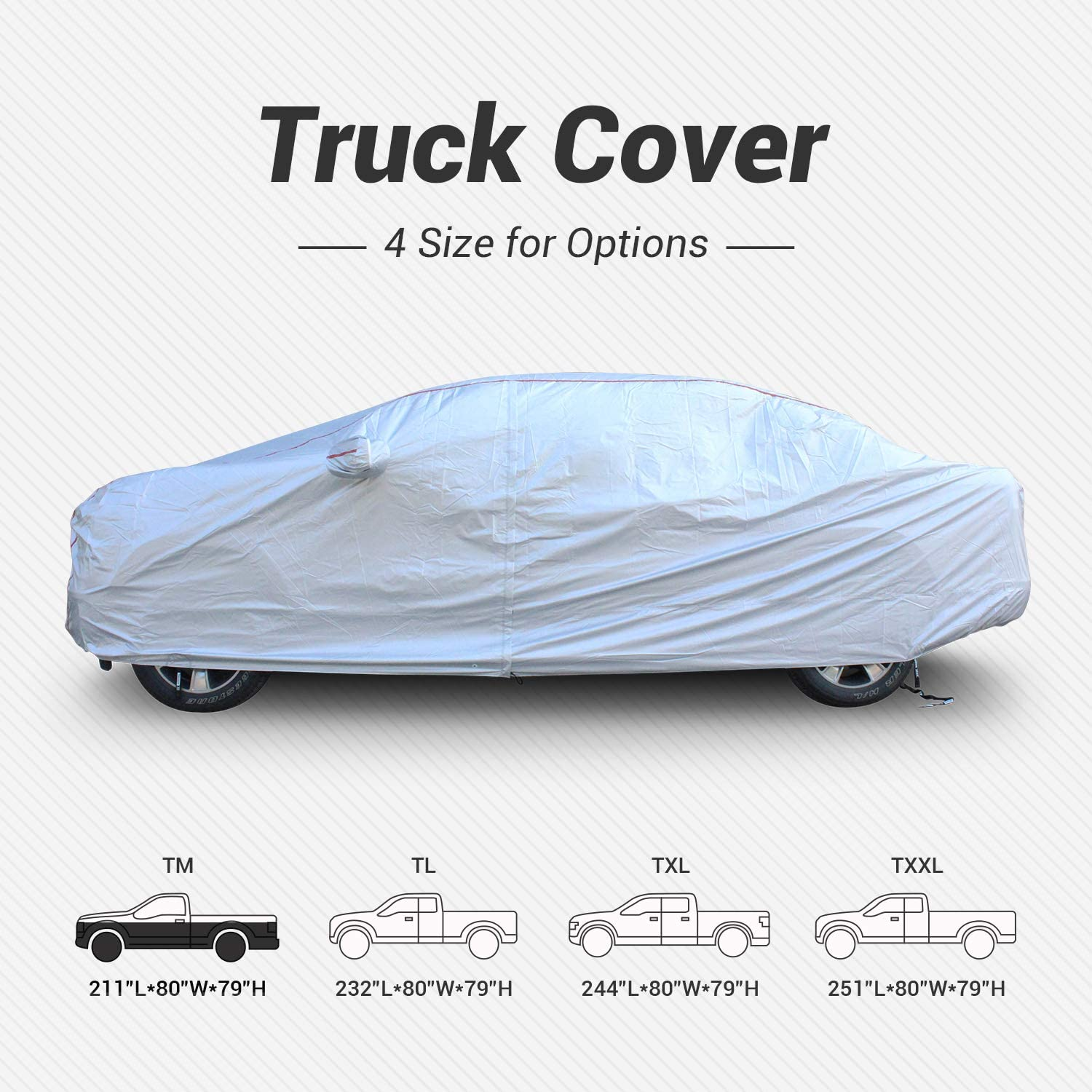 Tecoom Hard Shell Truck Cover Oxford Material Waterproof UV-Proof Windproof Zipper Design with Straps and Buckles Antenna Patch for All Weather Outdoor Fit Truck Length Up to 212 Inches