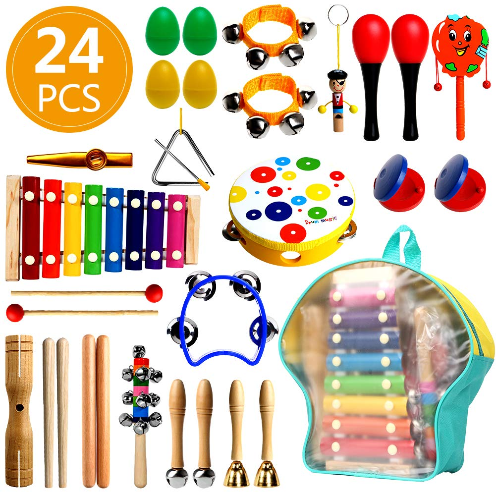 RAIN QUEEN 24PCS Toddler Musical Instruments, Wooden Percussion Instruments Toys for Kids Preschool Educational by RAIN QUEEN