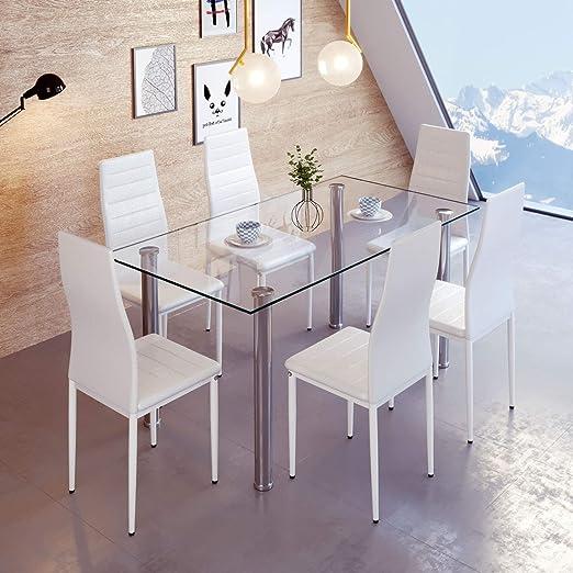 EUCO Mesa de Comedor y 6 sillas, Mesa de Comedor de Cristal ...