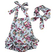 8a961eb8d73 Emmababy 2pcs Baby Infant Girls Rompers Lace Dress Backless Floral Jumpsuit  with Headband (0-6months