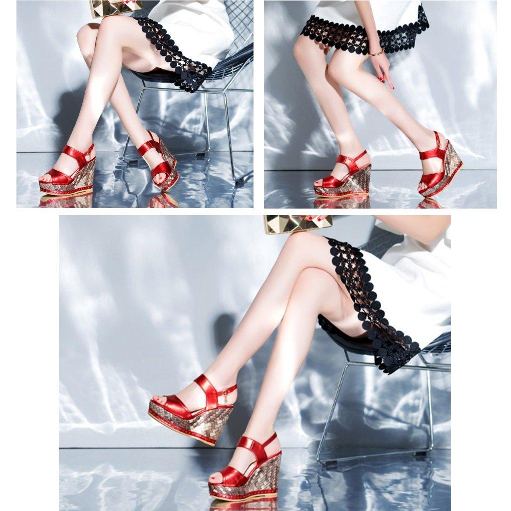 Sommerhang mit Damenschuhen Kuhfell-Diamanten hochhackige Sandalen weibliche wasserdichte Plattform dicker dicker dicker Boden Fisch-Mund-Schuhe Art und Weise reizvolle Sommerschuhe (Höhe 11cm) ( Farbe   rot Größe   36 ) 9fdb67