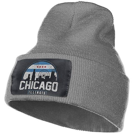 8586dc8b812 ZHXR Unisex Chicago City Flag Skyline USA Winter Acrylic Knit Beanie Hat  Skull Cap