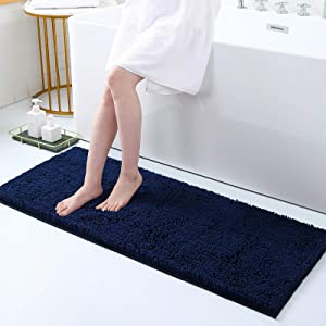Smiry Luxury Chenille Bath Rug, Extra Soft and Absorbent Shaggy Bathroom Mat Rugs, Machine Washable, Non-Slip Plush Carpet Runner for Tub, Shower, and Bath Room(17''x47'', Navy Blue)