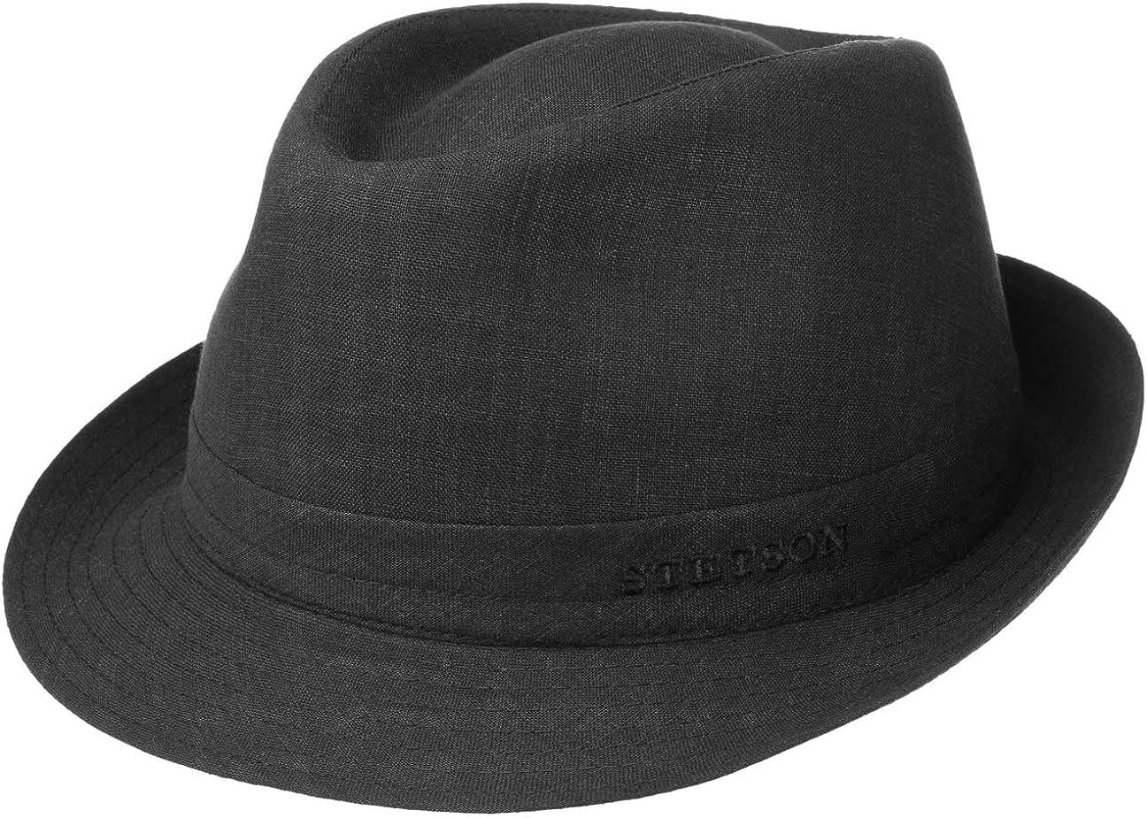 Stetson Trilby de Lino Geneva Mujer/Hombre - Made in Italy Sombrero Tela Verano Sol con Forro Primavera/Verano