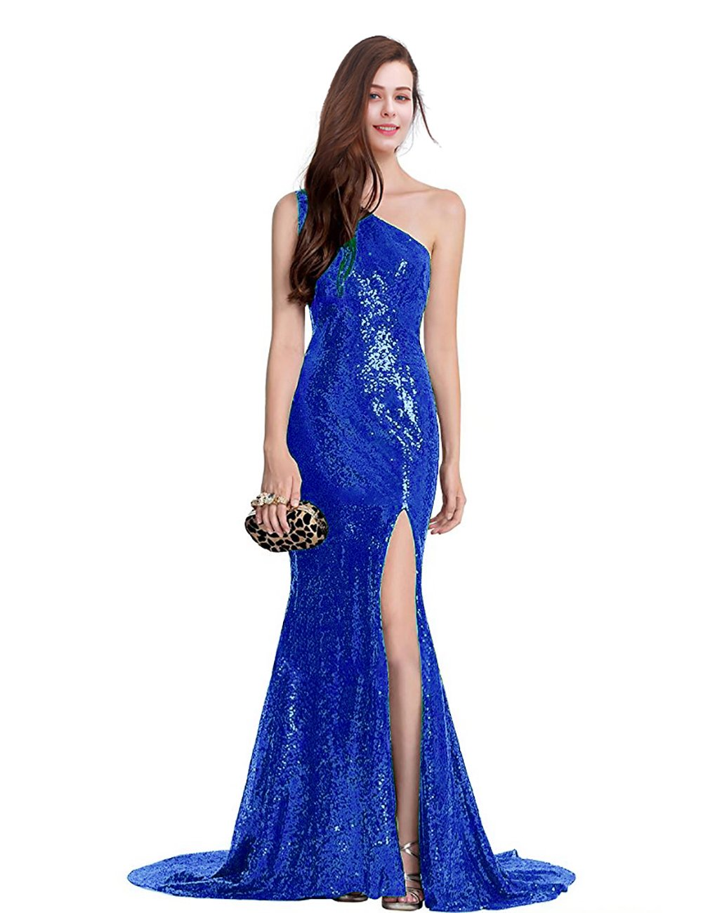 YSMei Womens One Shoulder Sequin Evening Prom Dress Split Long Formal Gown YPM24