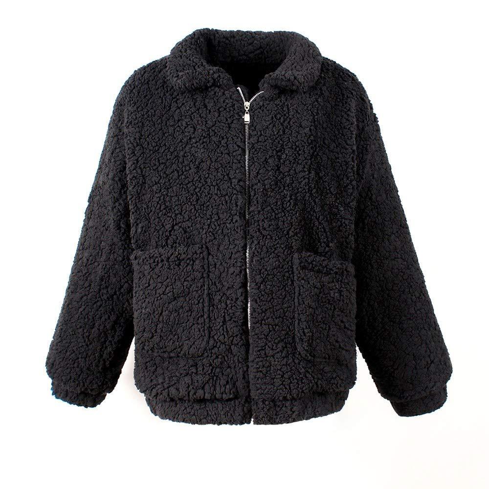 Keepmove Women's Winter Warm Faux Shearling Coat Casual Jacket Parka Outwear Overcoat Black by Keepmove