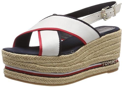 sensación cómoda outlet(mk) diversos estilos Tommy Hilfiger Flatform Sandal Corporate Ribbon, Sandalias con Plataforma  para Mujer