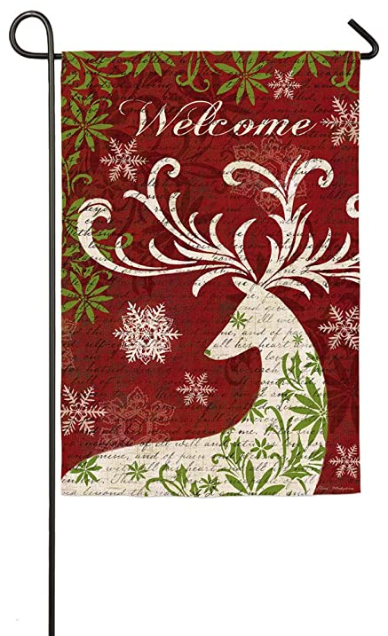 Evergreen Suede Christmas Deer Silhouette Welcome Garden Flag, 12.5 X 18  Inches