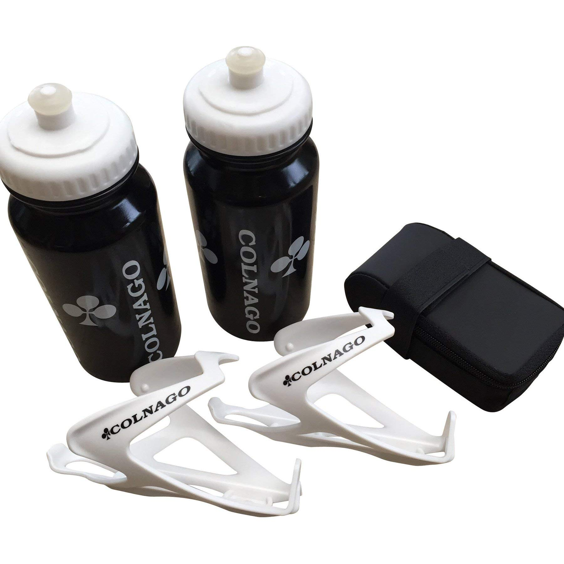 Colnago Bicycle Accessories Combo of 2 Water Bottles, 2 Air Water Bottle Cages & a Bicycle Saddle Bag (2 black water bottles, 2 white water bottle cages and a black saddle bag)